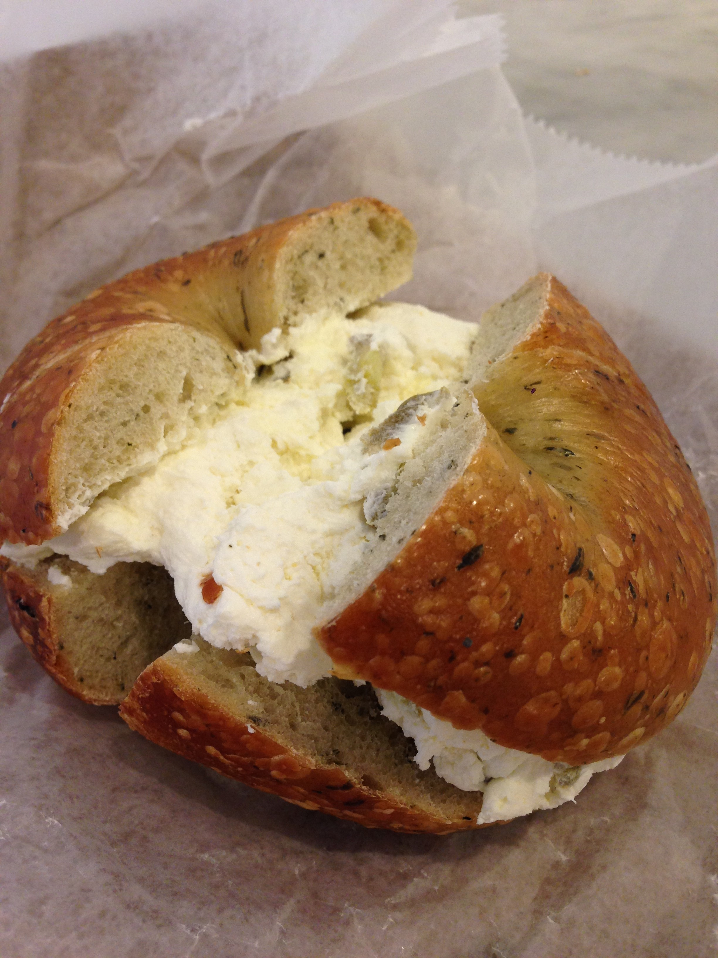Spinach bagel with just a smidgen of jalapeno cream cheese - MURRAY'S ...