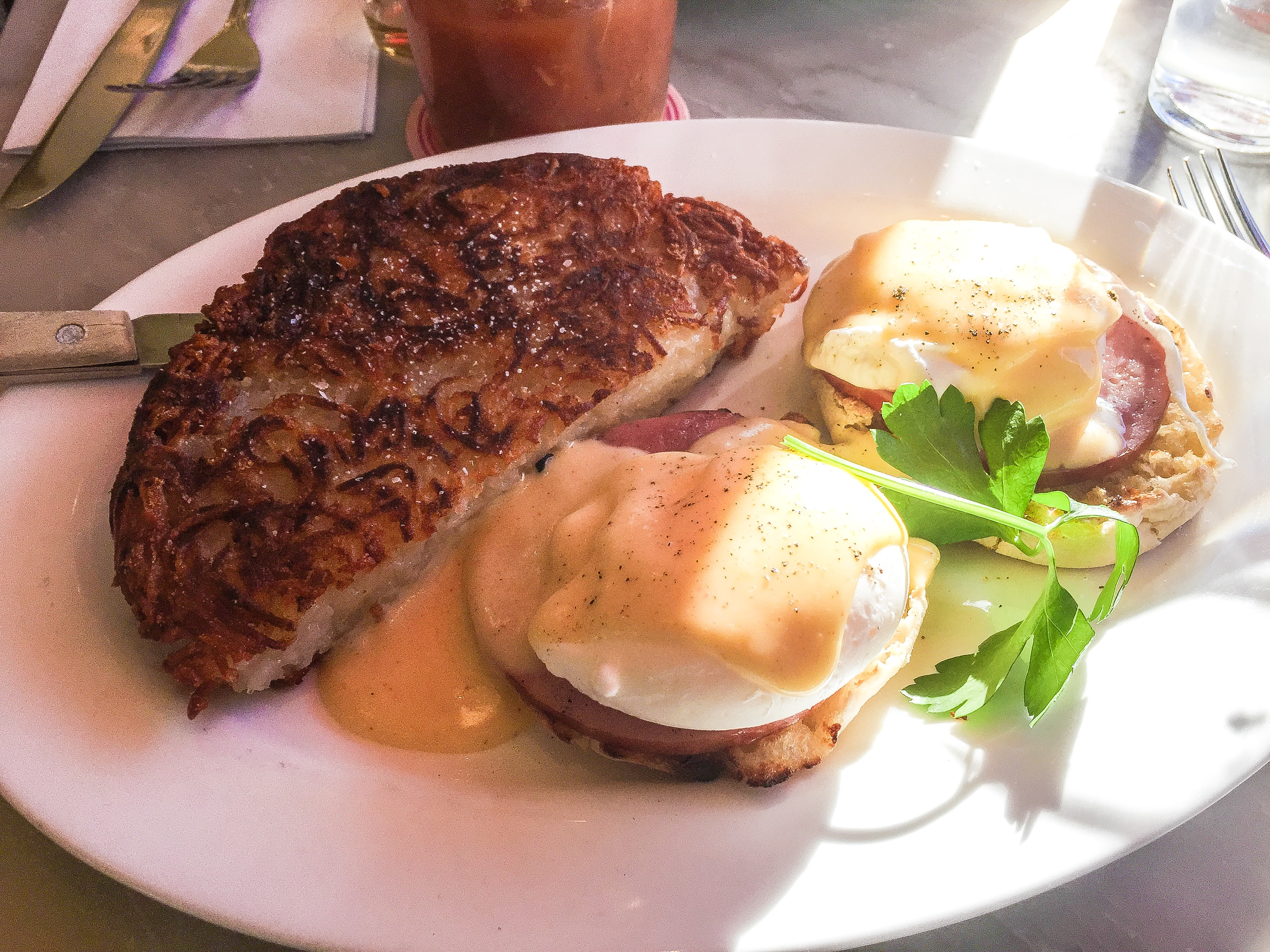 Classic Eggs Benedict - $16 Poached eggs on English muffins with ...