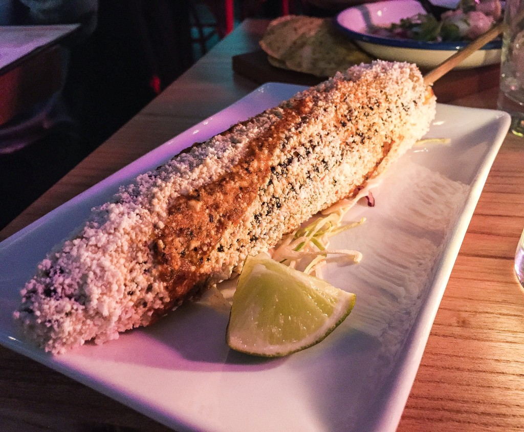 Elote - Grilled Corn on the cob, Lime mayo, Chile de arbol - $7