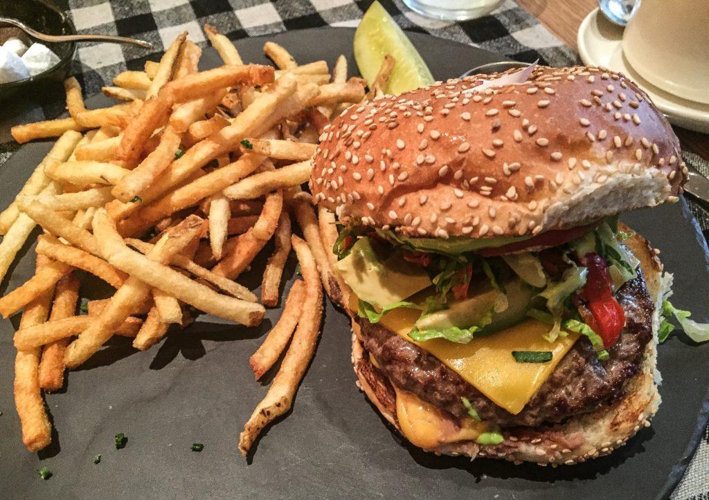 upland cheeseburger grass fed beef, american cheese, peppadew peppers + avocado 21
