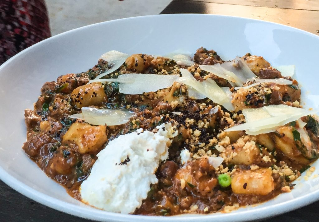 Brown Butter Gnocchi with braised lamb, hazelnuts, piave cheese - $25