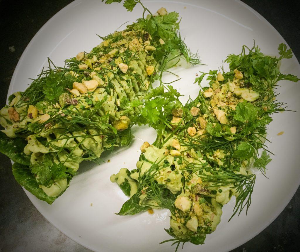 Romaine lettuces, pistachio