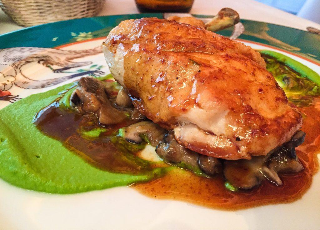 Chicken Breast Broccoli purée, wild mushrooms ragu, n'duja sauce