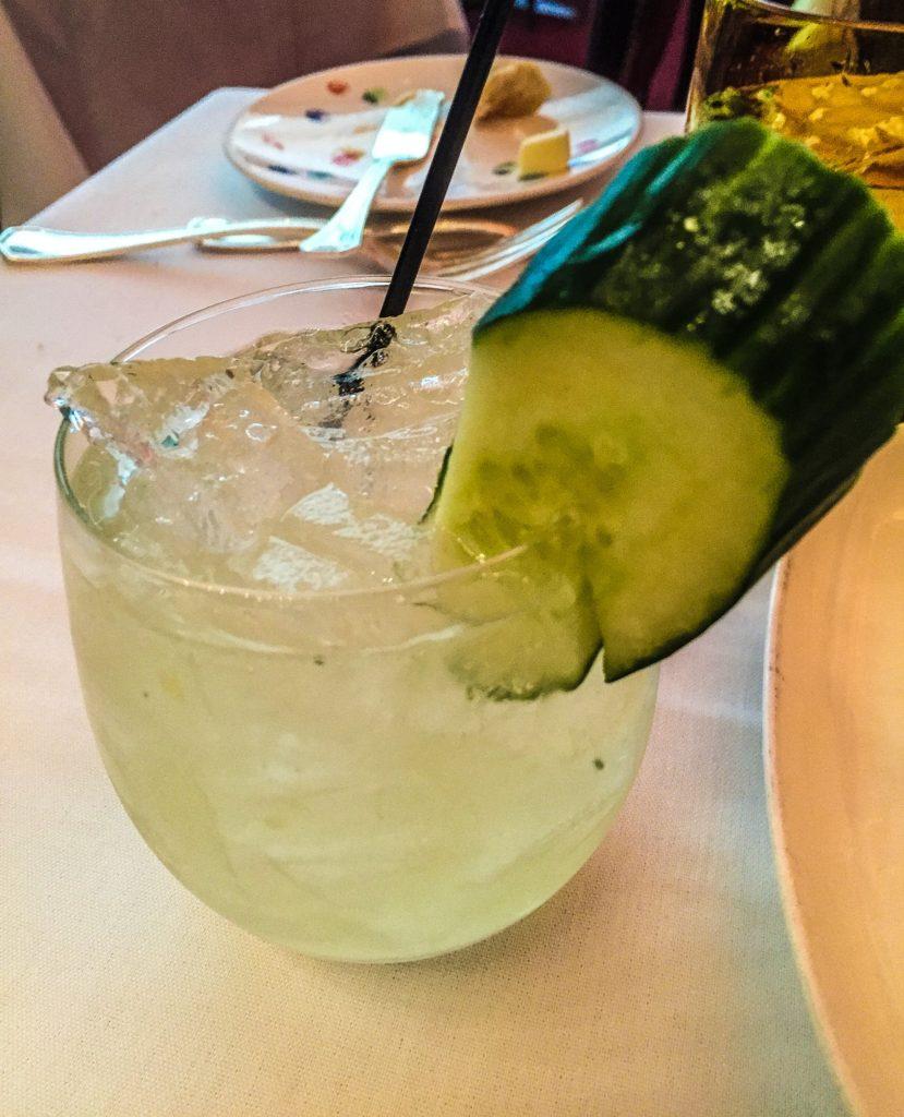 Cucumber Basil Smash Hendrick's gin, lime juice, fresh cucumber, fresh basil leaves, ginger liqueur, and a dash of elderflower syrup