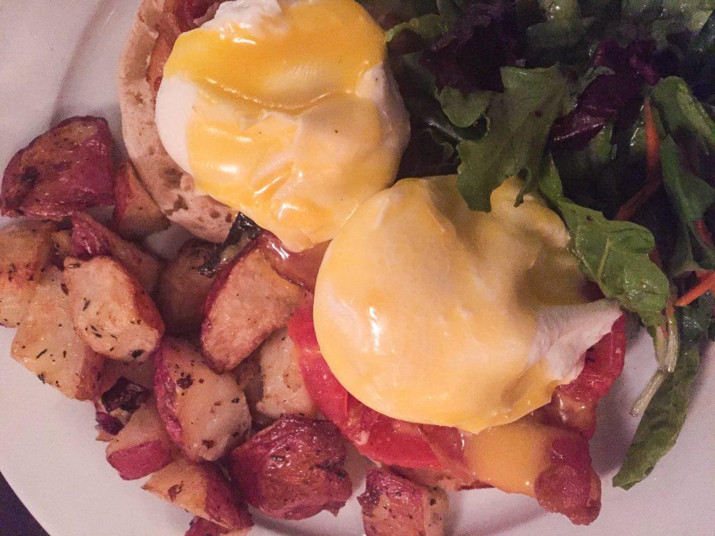 Blackstone Eggs w/ Bacon and Roasted Tomato - $17.50 (with homefries, salad, orange juice and coffee/tea)