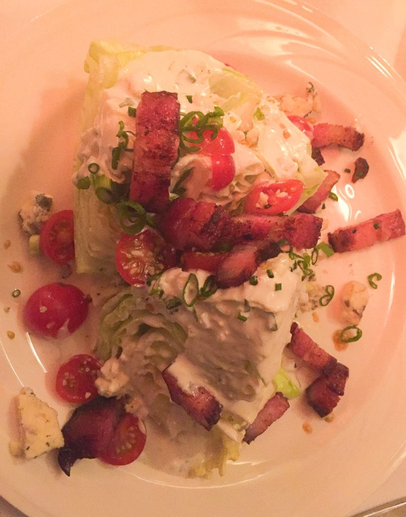 ceberg Lettuce Wedges, Blue Cheese Dressing  with Chopped Tomatoes and Bacon . . . add 4.00 $13
