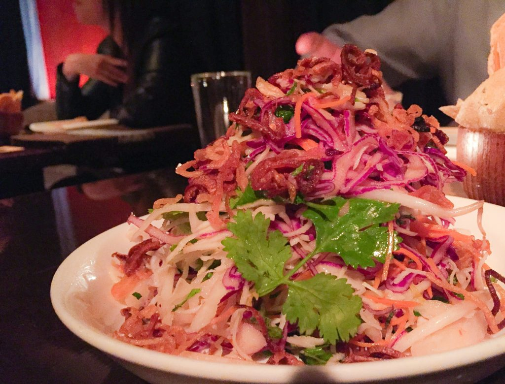Spicy Thai Slaw, Asian Pear, Crispy Shallots, Mint - $10