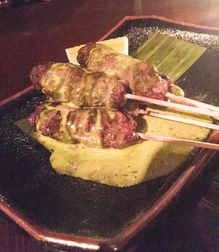 Charred Chili Rubbed Rib Eye Skewer – Thai Basil Dipping Sauce – $ ...