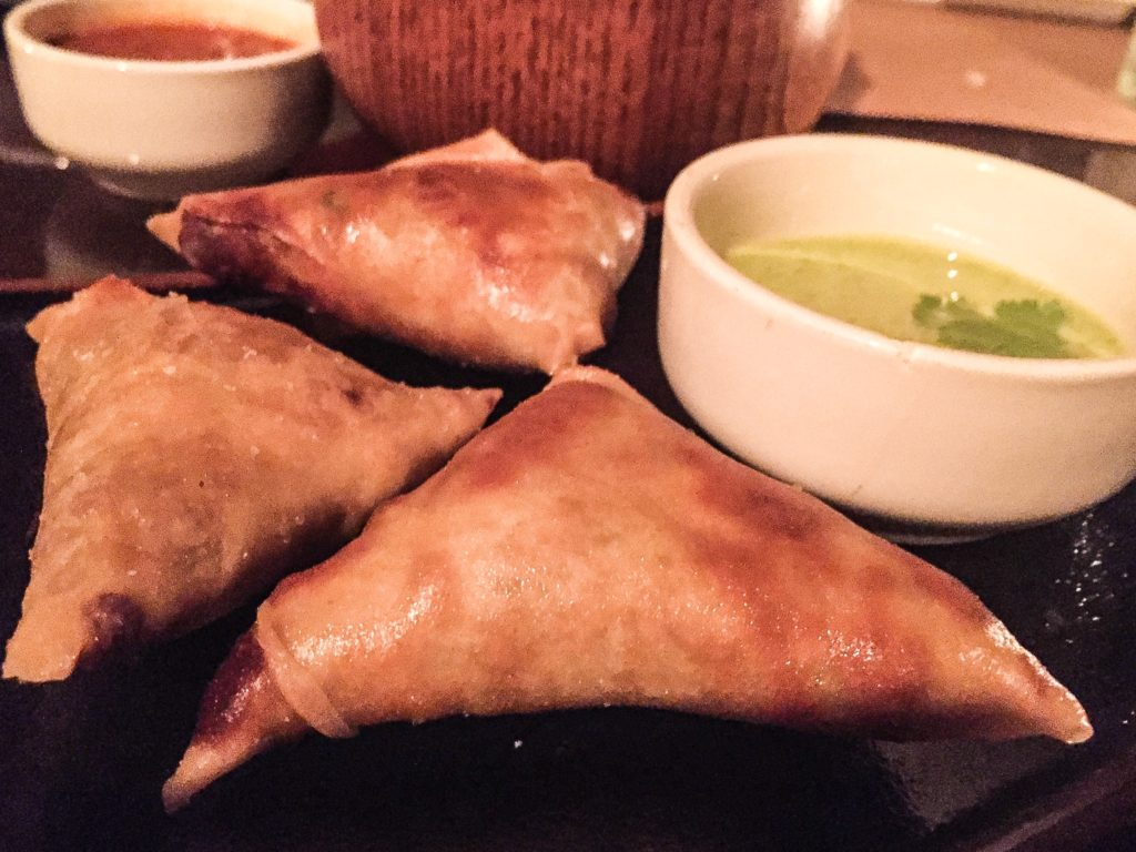 Spiced Chicken Samosas with Cilantro Yogurt - $12
