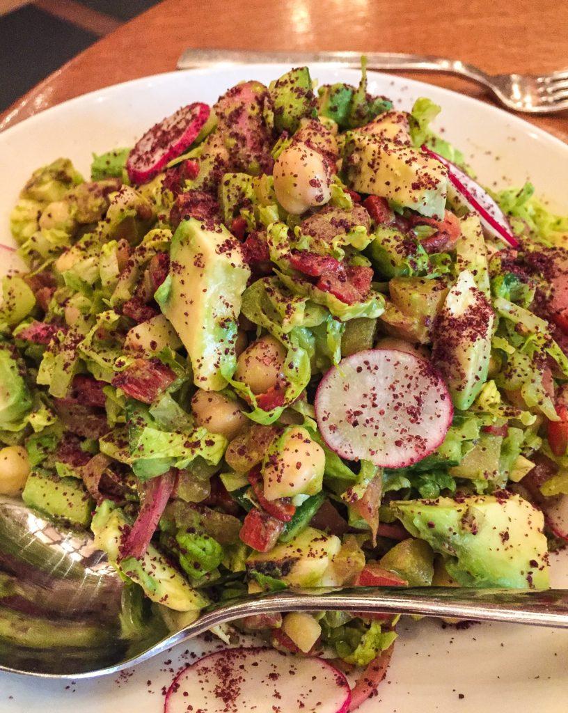Chopped Salad (Vegetarian) - $15 Chopped Salad  haloumi, avocado, piquillo peppers, romaine lettuce, creamy garlic & herb dressing