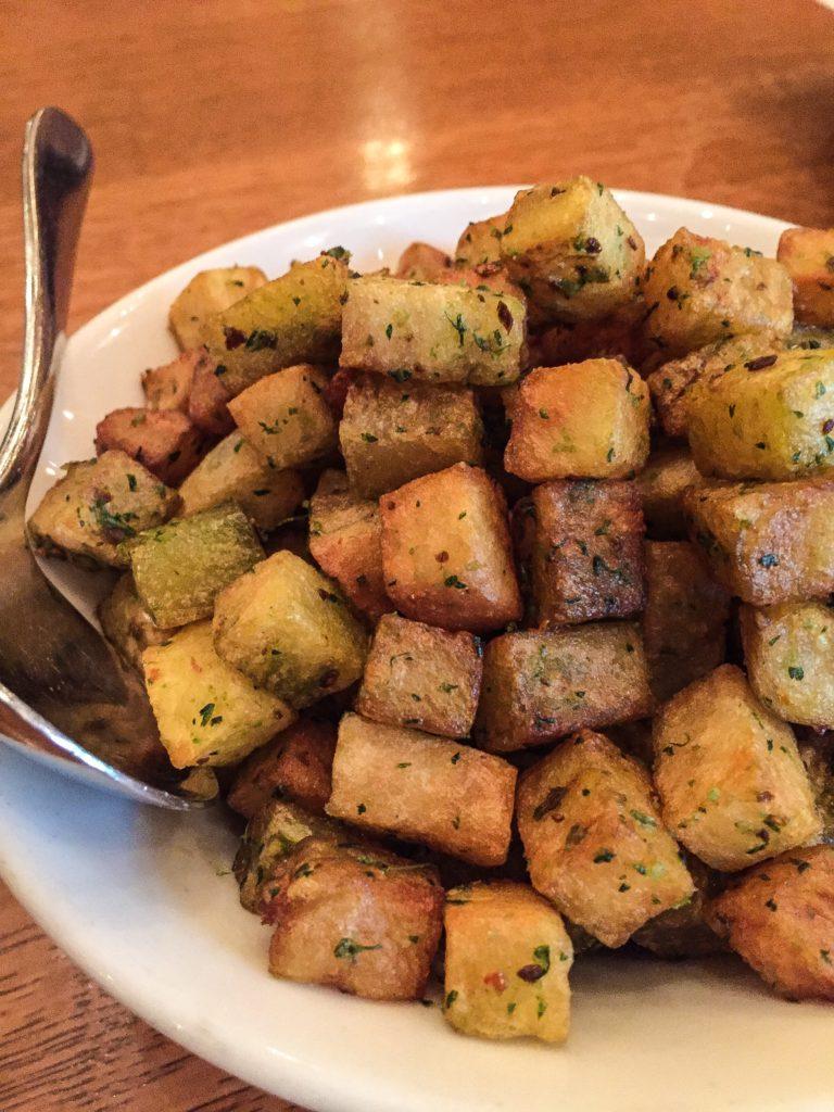 Batata Harra - $12 cubed potatoes, kouzbara, aleppo pepper