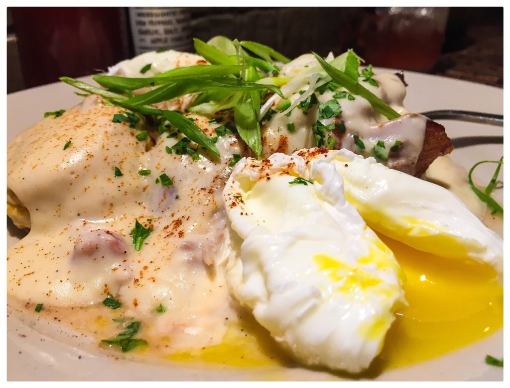 Biscuits & Gravy, bacon, poached eggs - $14
